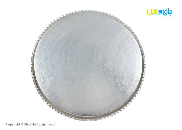 سینی مسی گرد نقره ای بزرگ، قابل شست و شو و مناسب برای سینی چای