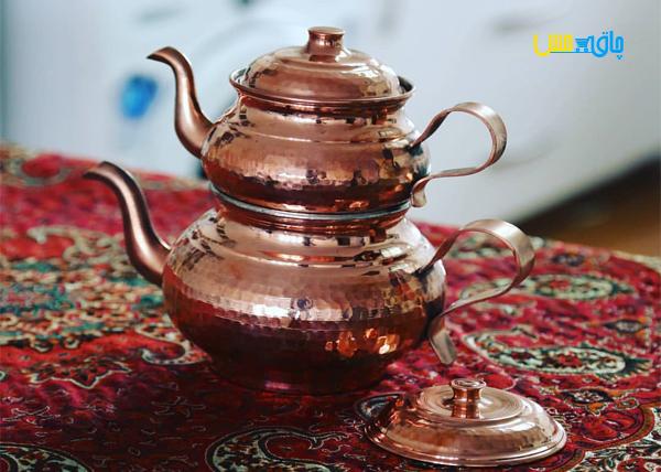 کتری و قوری مسی زنجان مدل قجری
