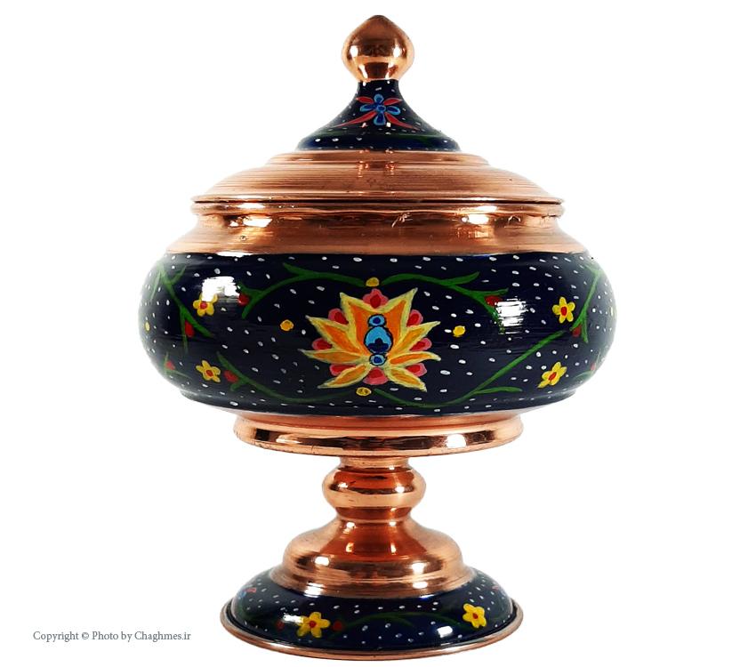 قندان مسی طرح دار زنجان ، نانو و نقاشی شده ، مناسب دکور و پذیرایی