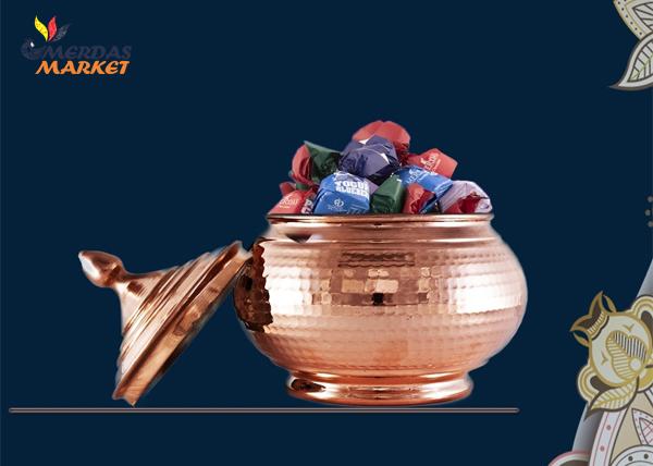 شکلات خوری مسی بدون پایه، چکش خورده و مناسب خانه ایرانی