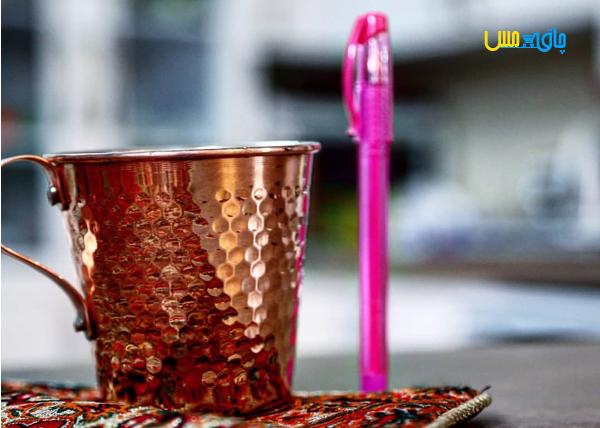 ست 2 تایی لیوان مسی راسته بزرگ ،چکش خورده و مناسب سرو انواع نوشیدنی