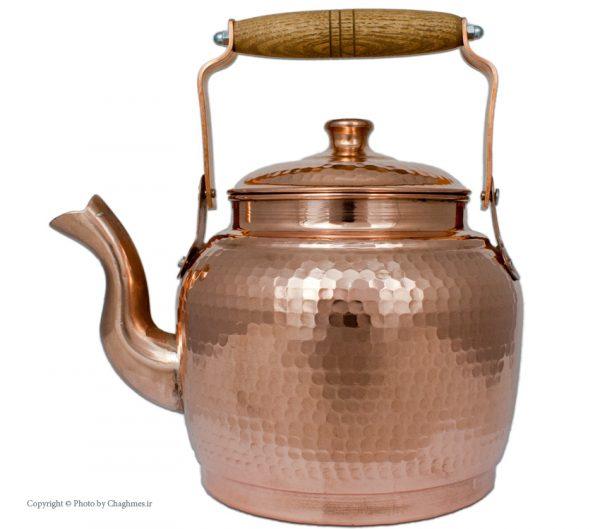 کتری مسی دسته چوبی زنجان مدل چکشی، مناسب اشپزخانه ایرانی