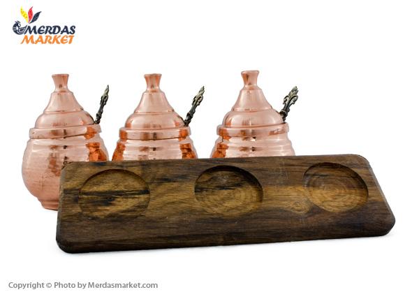 ست 3 تایی جا ادویه ای مسی با قاشق و پایه چوبی