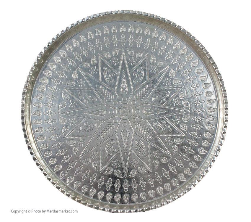 سینی مسی گرد نقره ای بزرگ، سایز 9 و قطر 35 cm
